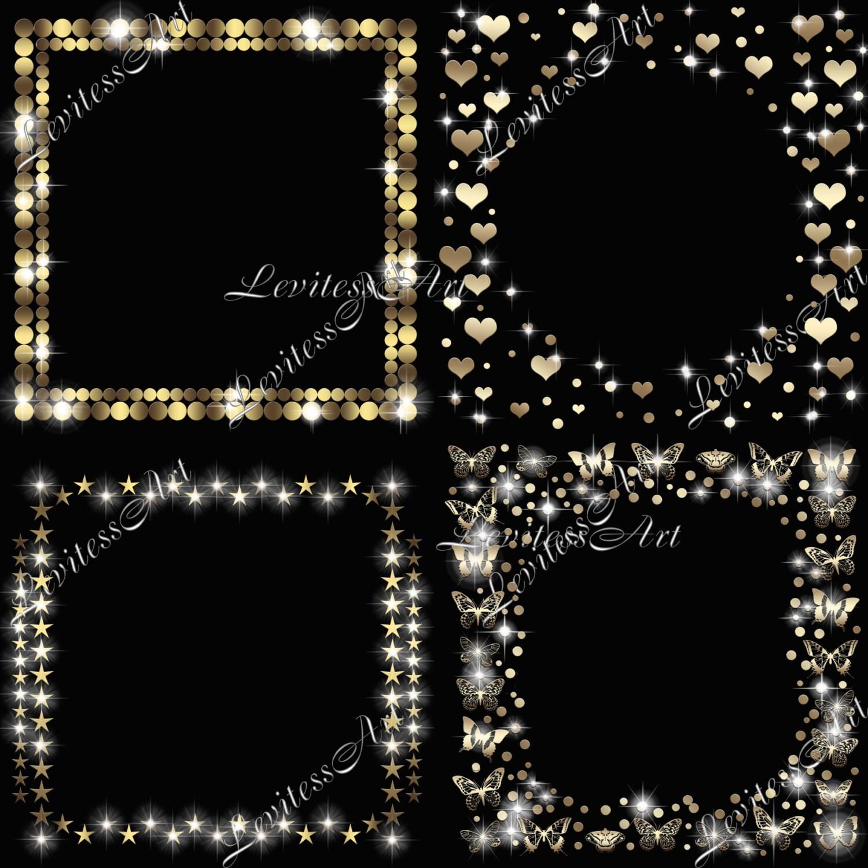 Gold frame clipart String lights sparkling Digital