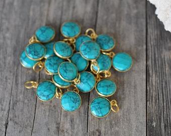Turquoise gemstone pendant 10 MM