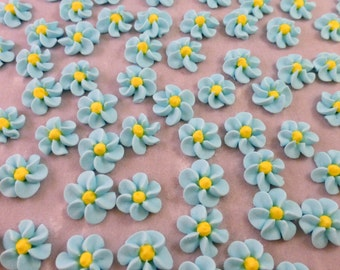 30 royal icing baby blue flowers, hard icing cupcake toppers, sugar cake decorations
