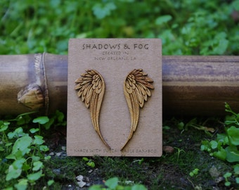 angel wing laser cut bamboo stud earrings