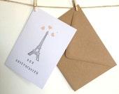 Handmade Birthday Card, French, Paris, Eiffel Tower, Bon Anniversaire