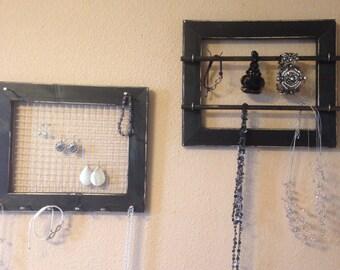 Black necklace holder, bracelet, earing holder, distressed jewelry frame, jewelry organizer