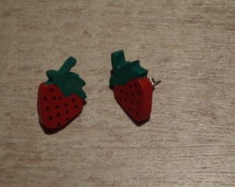 Wood earrings, walnut Strawberry