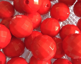 Red Solid 20mm Disco Beads - 10pc Chunky Bubblegum Beads