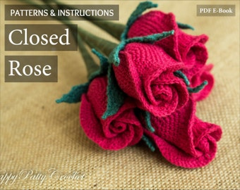Crochet Flower Pattern - Crochet Closed Rose Pattern - Crochet Rose Flower Pattern - Stem Rose - Romantic Gift - Easy Crochet Pattern