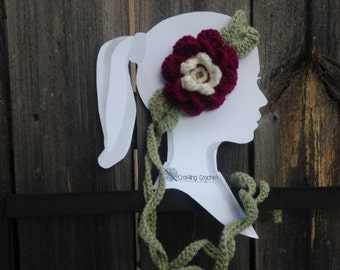 Crochet Flower Head Band with Green Pedals/Leaves