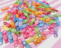 Rainbow Acrylic High Candy Charms Set of 10, Candy Beads