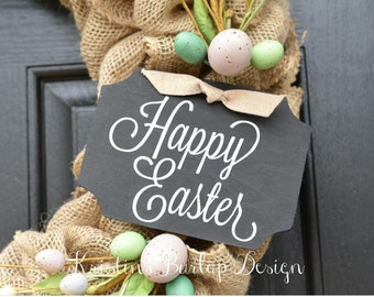 Chalkboard Style Wooden Sign- Happy Easter- 4.38in x 6in- great on wreath