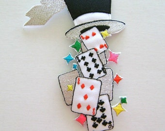 gambling / fun / magic magician cards hat embroidered iron on applique / patch