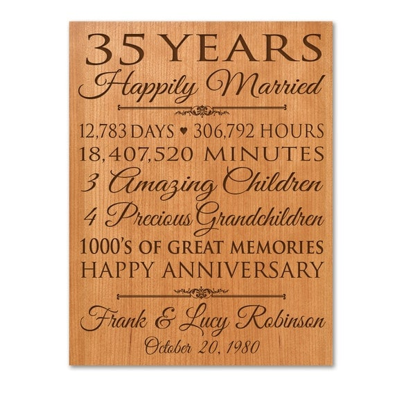 Personalized 35th Anniversary Gift For on Best Anniversary Ts Parents
