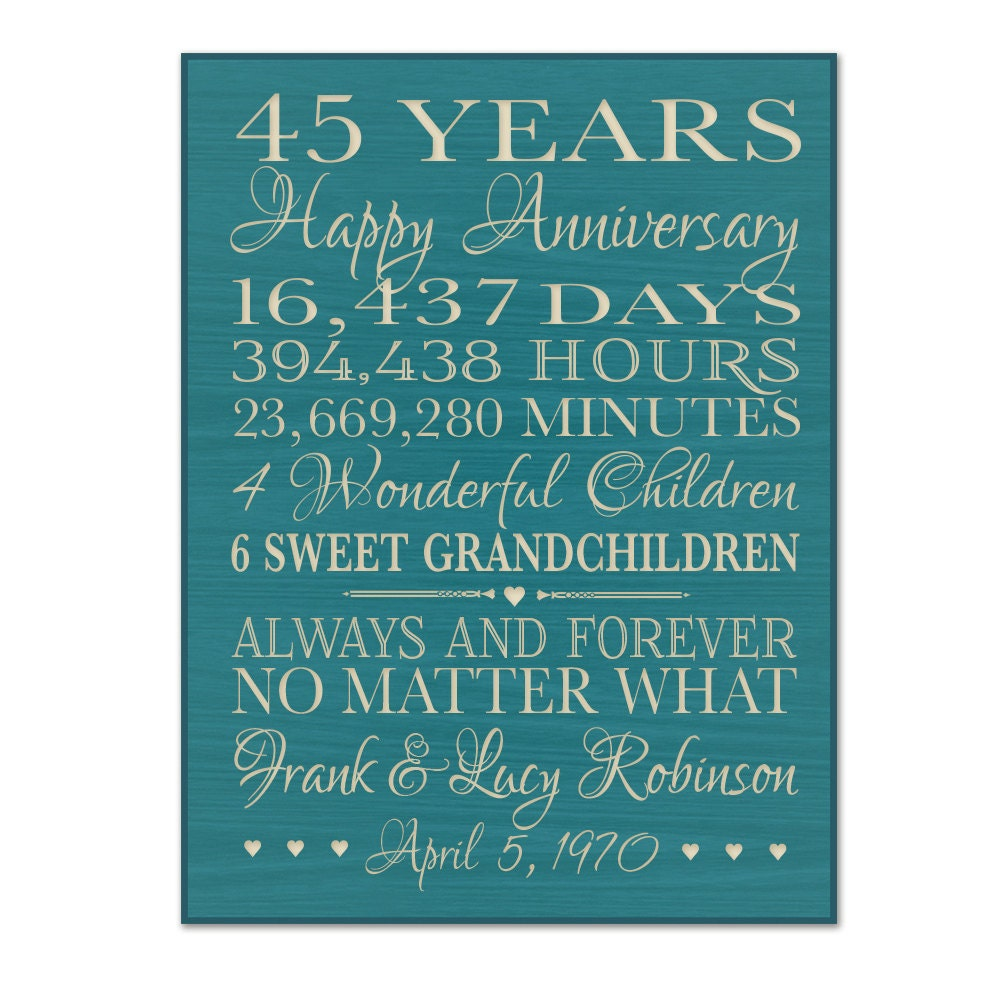 45th Wedding Anniversary Gift Ideas Parents : Personalized 45th anniversary gift for by DaySpringMilestones