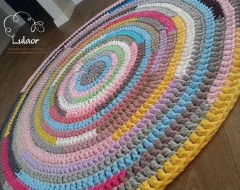 "Crochet round rug, t shirt yarn rug, fabric yarn round rug ,zpagetti yarn rug ,handmade 46.4"" ready to ship. rag rug"