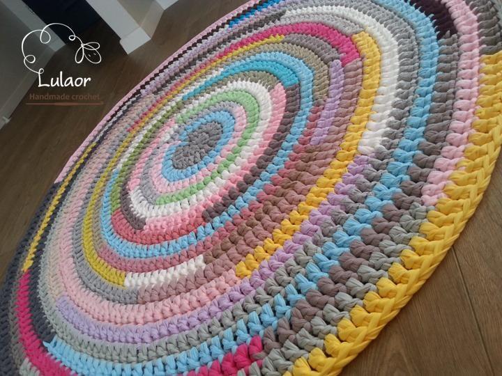 Crochet round rug t shirt yarn rug fabric yarn round rug