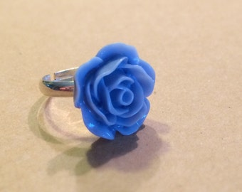 Blue Rose Cabochon Ring