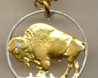 U.S. Buffalo nickel Cut Coin Necklace - Fathers Day Gift for Him