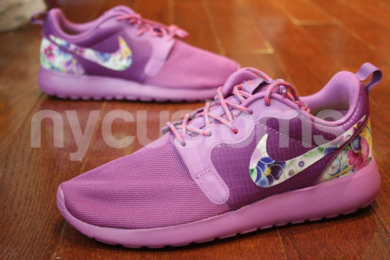 73753b0ed9c0 outlet Nike Roshe Run Hyperfuse Purple Floral Dream Custom by NYCustoms
