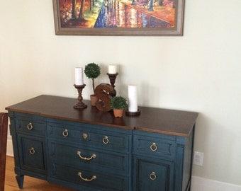 SOLD- Vintage Buffet in Antiqued Blue