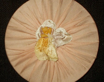 Vintage 1920's Flapper Rayon Fabric Cardboard Disc Ribbon Rosette Embellishment For Crafts