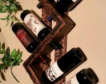 Rustic Wood Wine rack. 6 Bottle. Style-Right Pointing