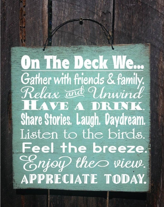 Deck Rules Deck Sign Patio Decor Patio Sign By