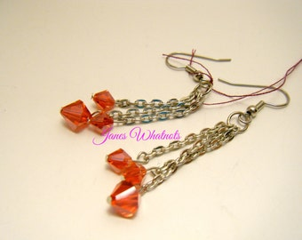 Earrings Red - Red Dangle Earrings - E124