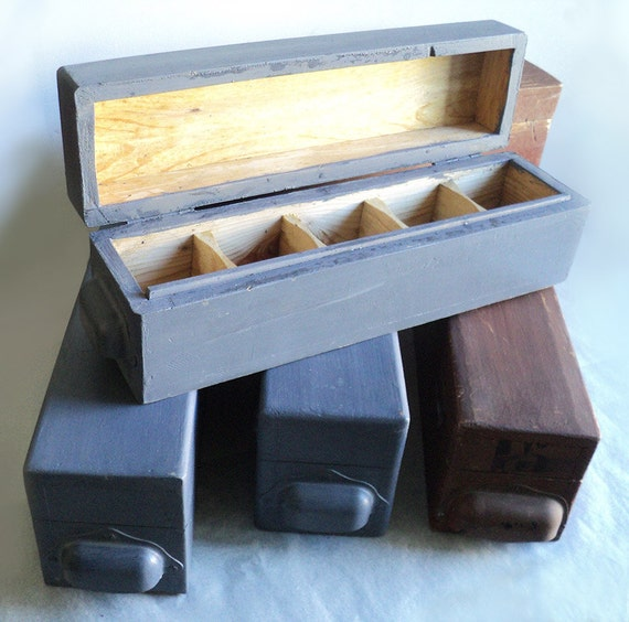 Wooden craft box storage compartment box by labelleepoquedeco for Craft storage boxes with compartments