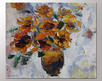 Sunflower Oil Painting  Floral Painting  Canvas Art  Original Painting  Flower Painting  Wall Decor  Palette Knife Painting  Ready to Hang