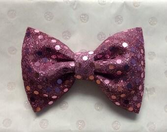 Rose sparkle fabric bow