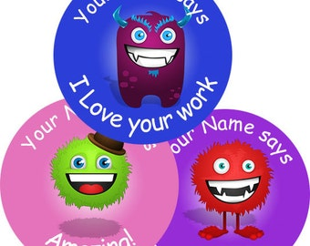 140 Personalised Monster themed Teacher Reward Stickers