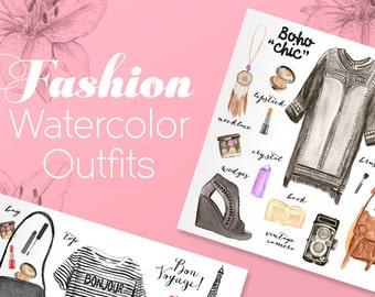 100 watercolor fashion elements (JPEG - INSTANT DOWNLOAD)