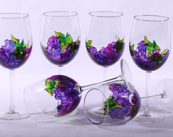 Hand painted Grape wine glasses (set of 6)