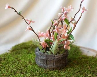 Miniature Flowers in Barrel Fairy Garden Doll House fake pink flowers in wooden barrel