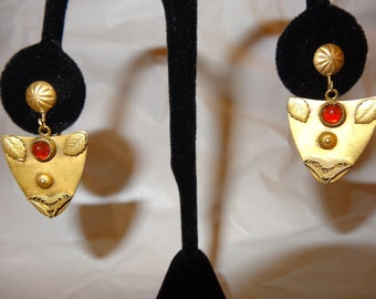 Antique Etruscan Earrings Shield Earrings Red Stone