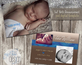 INSTANT DOWNLOAD - Birth Announcement - Photoshop Template - E100