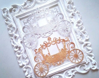 Princess Coach cut out, 1 pack of 5 pieces glitter, gold and silver cardstock. Perfect for your Princess theme project!