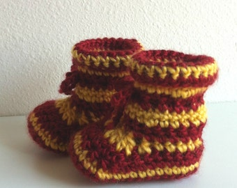 Gryffindor Baby Booties, Crochet Baby Booties, Harry Potter Inspired Booties, Newborn Booties, Harry Potter, Stripped Booties