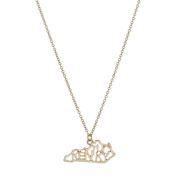 kentucky state outline necklace gold or silver by