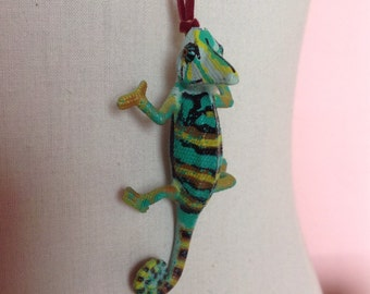 adorable one of a kind chameleon  critter necklace pendant with leather strap