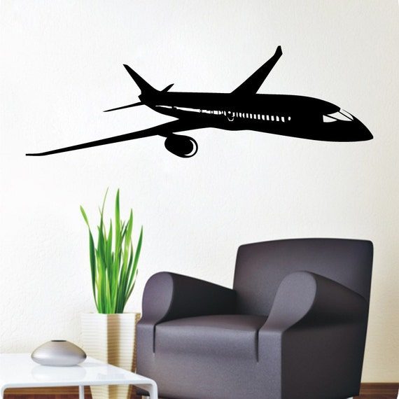 Wall decals plane airplane boeing aircraft vinyl decal sticker for Aeroplane wall mural