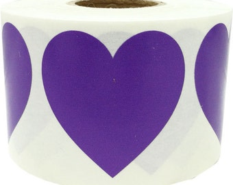 "Large Purple Heart Shape Stickers | 1.5"" Adhesive Heart Stickers 