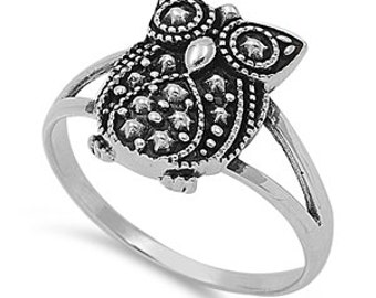 Owl Ring Sterling Silver 925