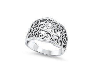 Filigree Sunflower Ring Sterling Silver 925
