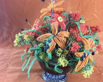 Vintage beaded flower arrangement