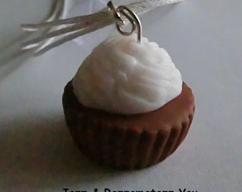 Handcrafted Fimo Glitter White Icing Cupcake Necklace