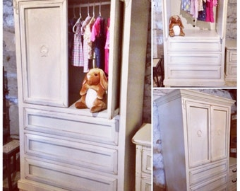 SOLD: Heirloom White Shabby Chic Armoire / TV Cabinet