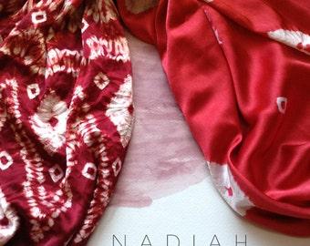 Red Merah silk scarf. Batik silk scarf.