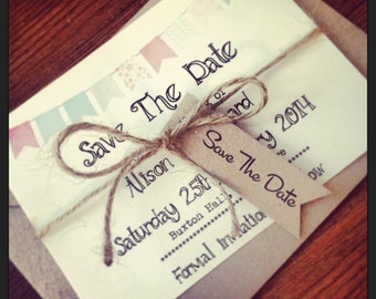 1 Vintage/Shabby Chic Style Bunting save the date sample with twine & tag
