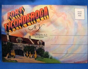 Vintage Souvenir Linen Postcard Folder - Fort Ticonderoga, New York - Unmailed