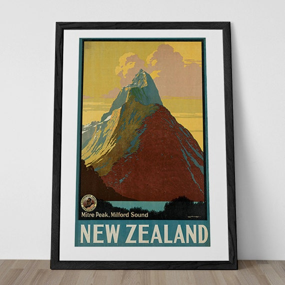 New zealand travel poster vintage art deco by for Ikea ship to new zealand
