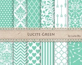 "Green Digital Paper: ""Lucite Green"" Pantone Spring Colors 2015, green scrapbook papers, for invitations, cardmaking, crafts"